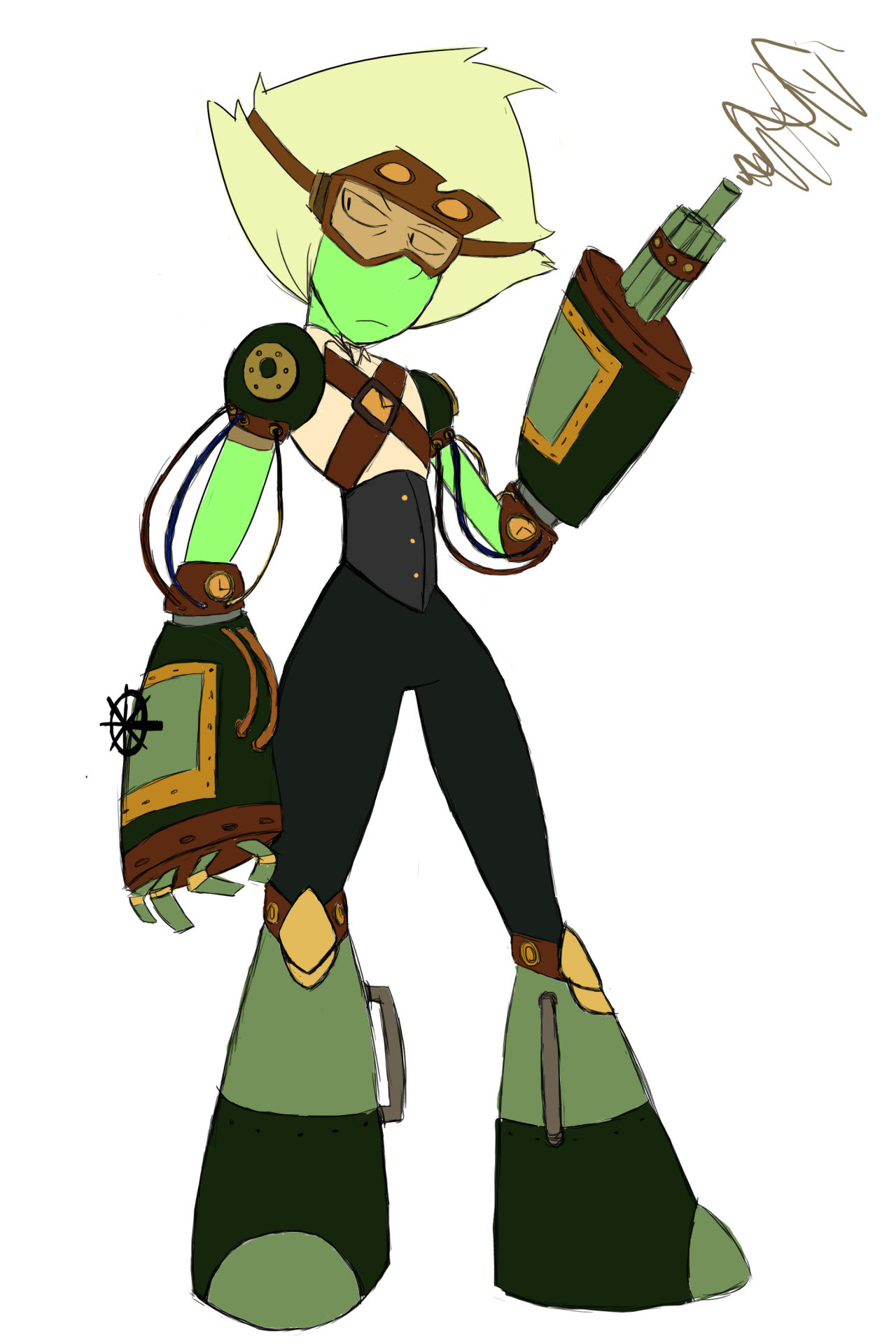We had an assigment where we had to draw a fictional character in steampunk style…So I decided to pick Peridot