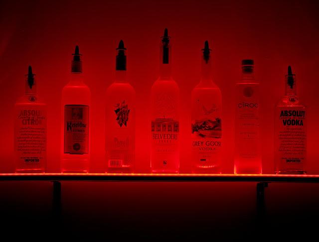 """46"""" Wall Mount LED Lighted Bottle Shelf, 3' 10"""" LIquor shelves"""