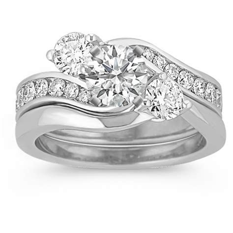 Three Stone Swirl Diamond Wedding Set with Channel Setting