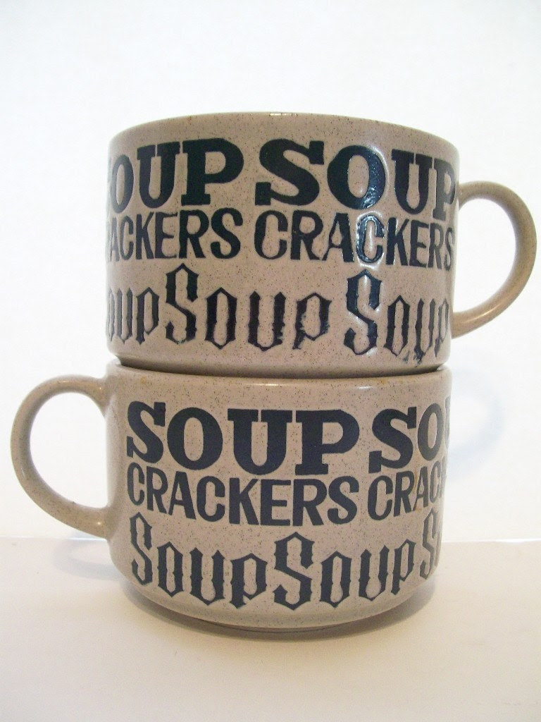 Set of 2 Matching Soup and Crackers Large Mugs