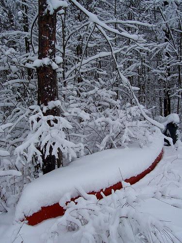 Canoe in winter
