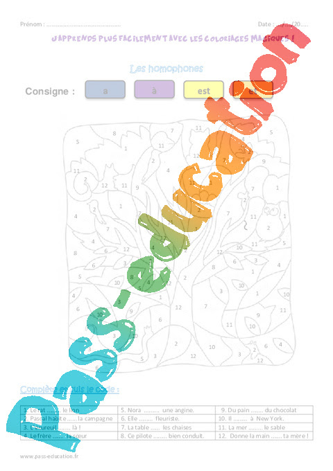 Et Est A à Homophones Ce1 Coloriage Magique Pass Education