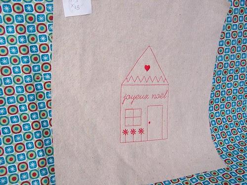 Joyeux Noel Redwork House Fabric Panel