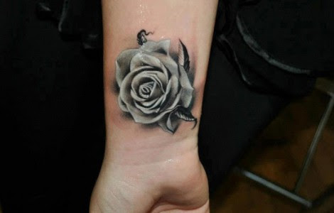 Black And White Rose Tattoo On Wrist Tattoos Designs Ideas