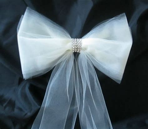 Set of 6 Pew Bows in Tulle with Rhinestones, Pew