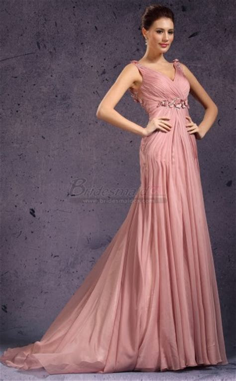 V Neck Chiffon Nude Pink Long Sheath Empire Waist