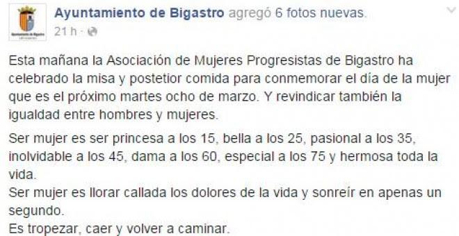 Perfil en Facebook del Ayuntamiento de Bigastro