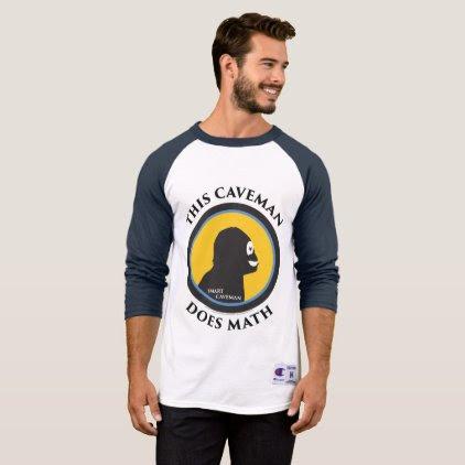 3/4 Sleeve Raglan T-Shirt: Math Smart Caveman T-Shirt