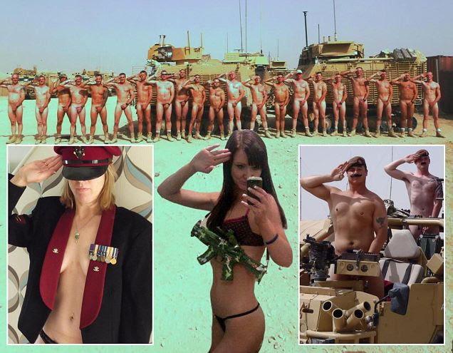 A Royal Salute from 1st Troop, D Squadron. Military personnel have been showing their support for Prince Harry by posting pictures of themsleves performing nude salutes on the facebook site - 'Support Prince Harry with a naked salute!'