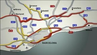 Estat de les sortides de Barcelona cap a dos quarts de set d'aquesta tarda de revetlla de Sant Joan