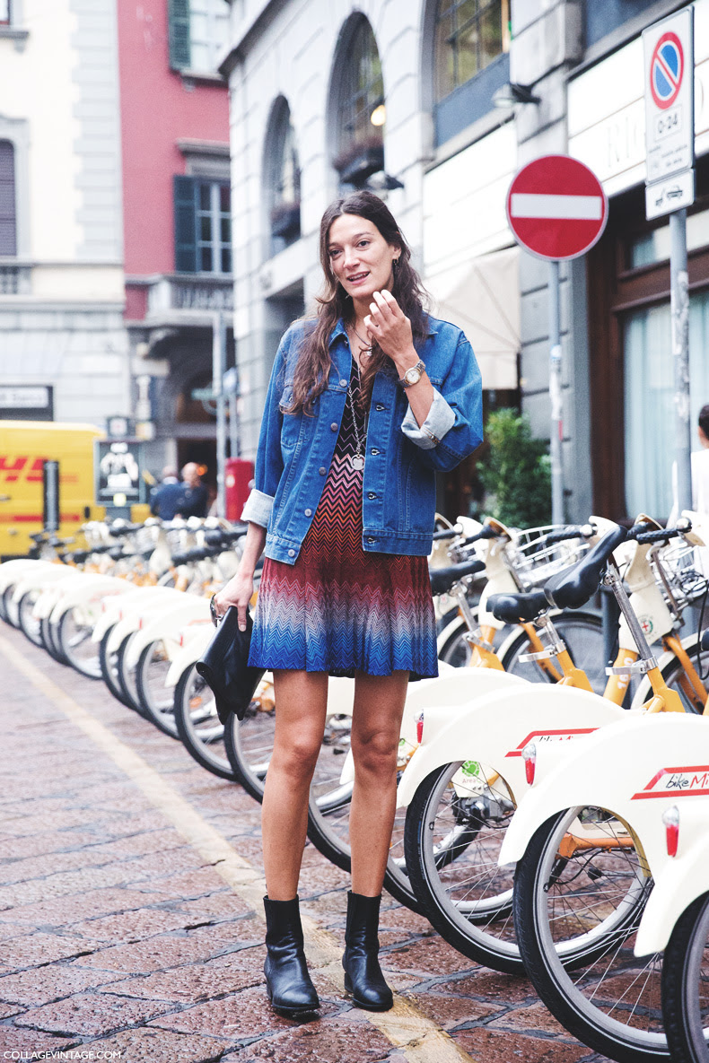Milan_Fashion_Week_Spring_Summer_15-MFW-Street_Style-Missoni_Dress-Denim_Jacket-
