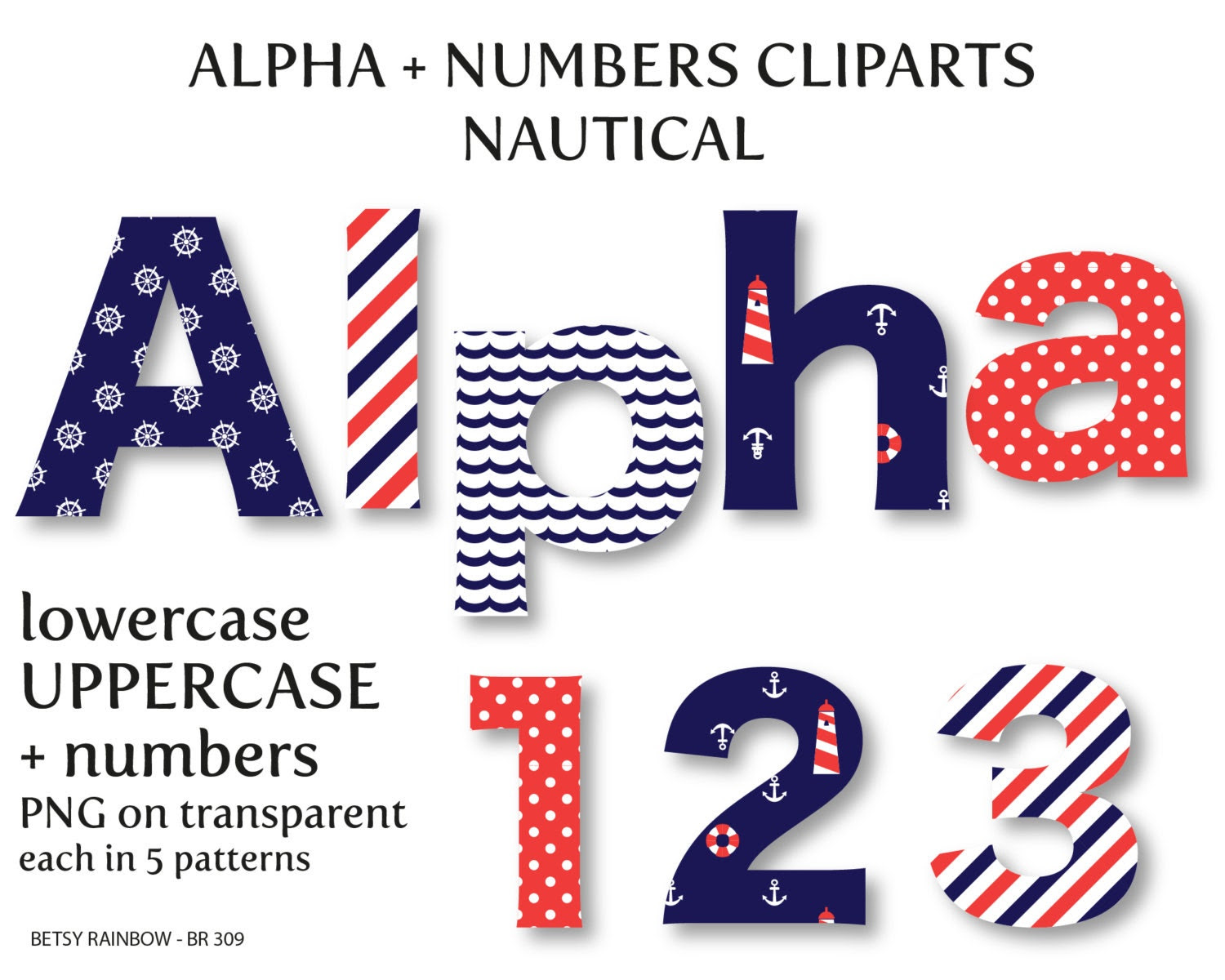 Nautical alphabet clip art digital letters and by BetsyRainbow