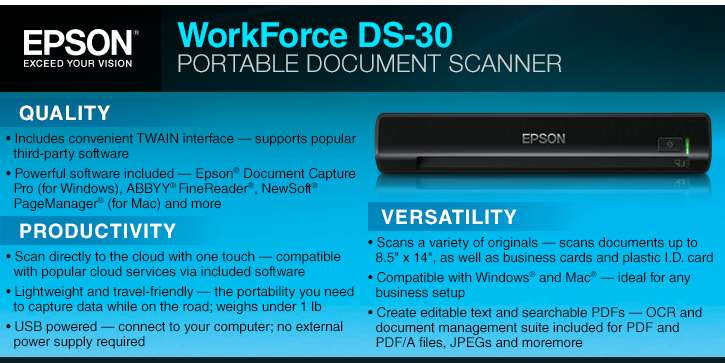 Buy The Epson Workforce Ds 30 Portable Document Scanner At