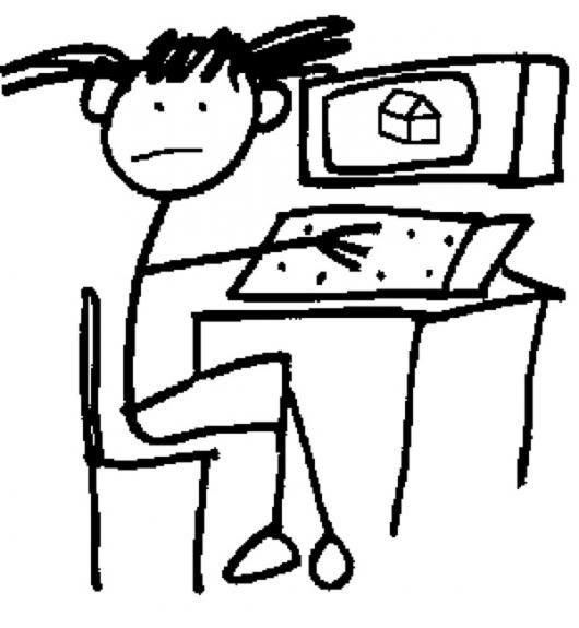 Dibujo De Nina En Computadora Para Pintar Y Colorear Colorear