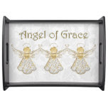Three Golden Filigree Christmas Angels of Grace Food Trays