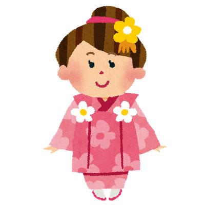 フリー素材 七五三を迎えた3歳の女の子を描いたイラスト花柄の着物を