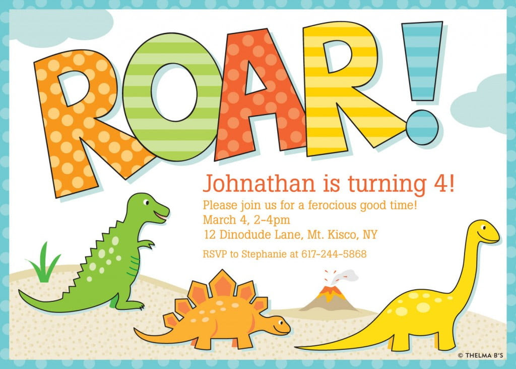 Roar Dinosaur Birthday Party Invitations 1024x731
