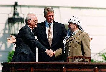 English: Israeli Prime Minister Yitzhak Rabin,...