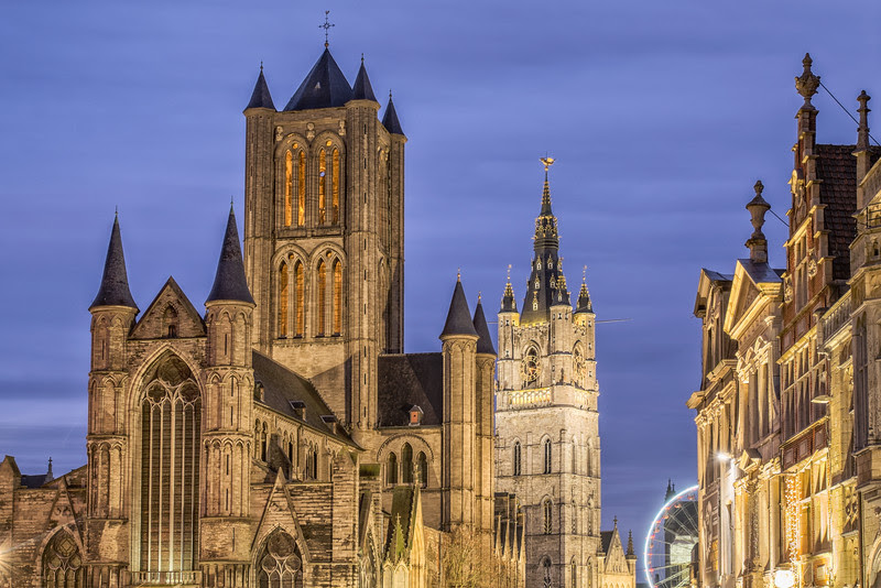 Churches at dusk, Ghent, Belgium