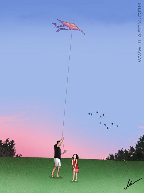 Pai empinando pipa, filha aprendendo, dicas para ilustradores, ilustração by ila fox