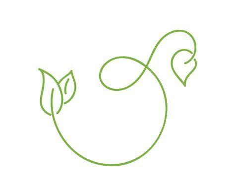 Green monoline calligraphy logo of green leaf ecology
