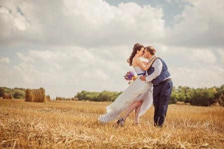 Bride and Groom in Hayfield