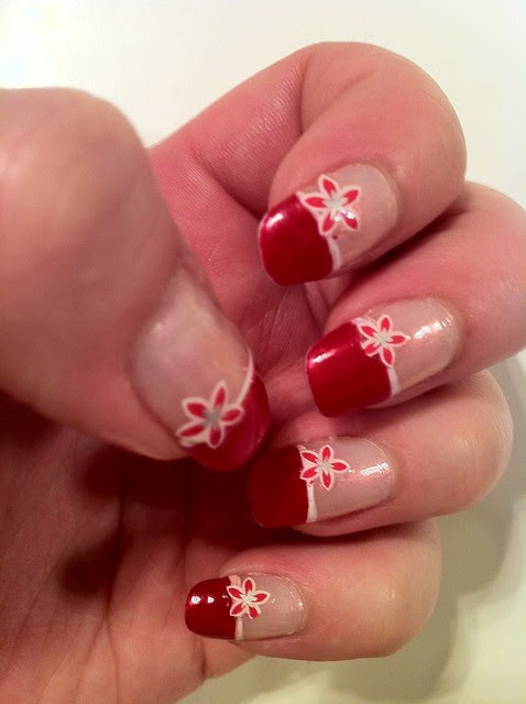 Red french tips nail art   Flickr - Photo Sharing!