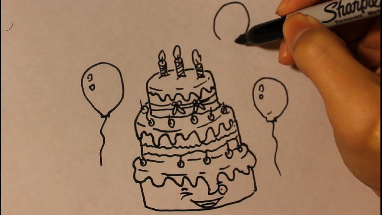 How To Draw A Birthday Cake Step By Step Birthday Cake