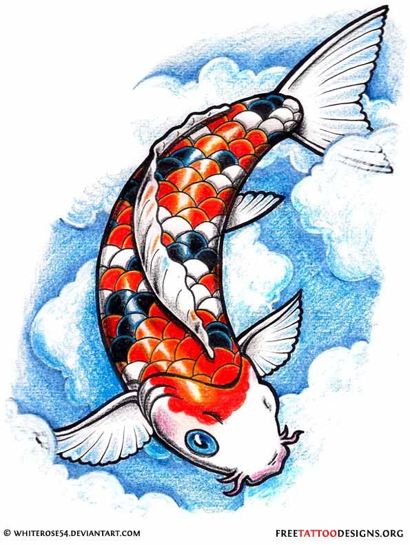 Colored Traditional Koi Fish Tattoo Design
