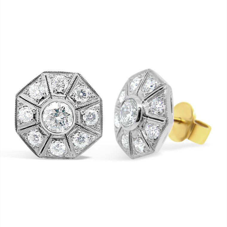 Gatsby Octagonal Art Deco Style Diamond Earrings Wpe01 Imp Jewellery