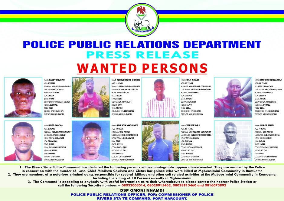 Rivers massacre: Police releases names, images of 8 wanted suspects [PHOTO]