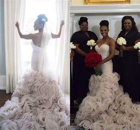 Luxury Organza Ruffles Bottom Wedding Dresses 2016