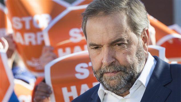Thomas Mulcair lors d'un rassemblement à Oshawa