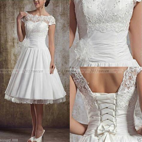 knee length short whiteivory lace wedding dresses