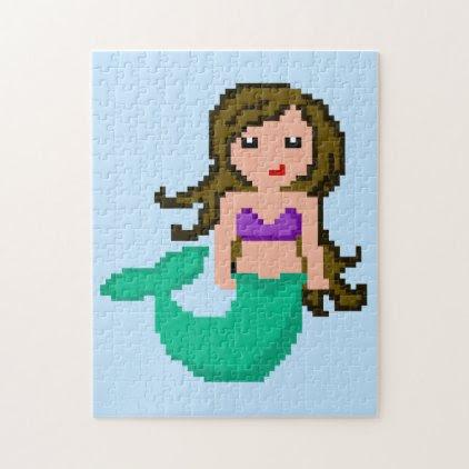8Bit Pixel Geek Ocean Mermaid Jigsaw Puzzle