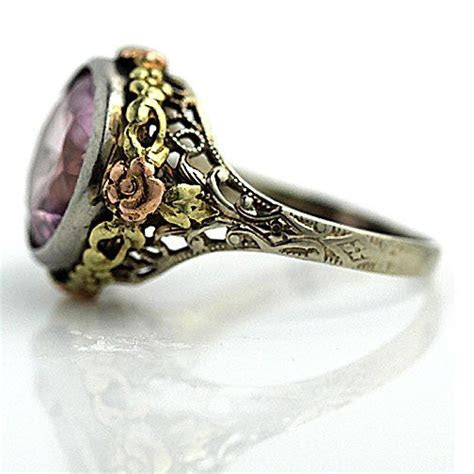 Antique 14 Kt Tri Tone Pink Zircon Engagement Ring Circa