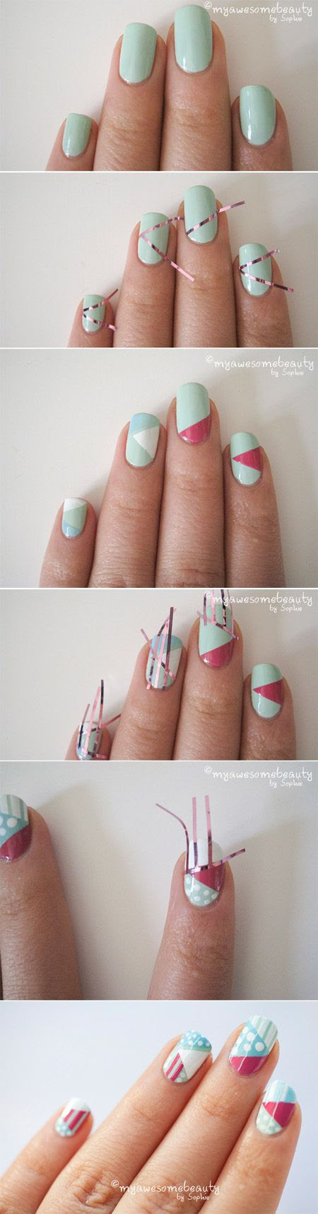 Geometric Nails. 12 DIY nail art designs using tape.
