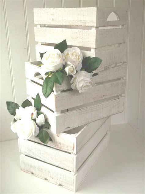 3 Vintage Style Rustic Wood Storage Crates Boxes Wedding