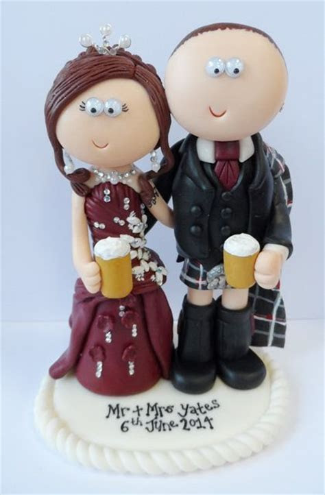 Scottish Bride & Groom wedding cake topper, I can make any