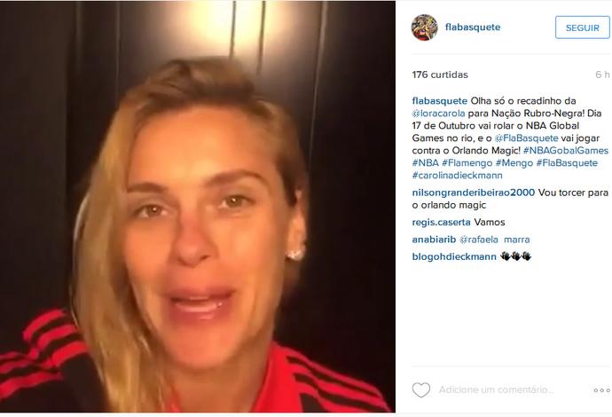 Carolina Dieckman em vídeo postado pelo Flamengo (Foto: Reprodução/Instagram)