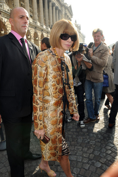 Anna Wintour attends the Balenciaga Pret a Porter show as part of the Paris Womenswear Fashion Week Spring/Summer 2010 on October 1, 2009 in Paris, France