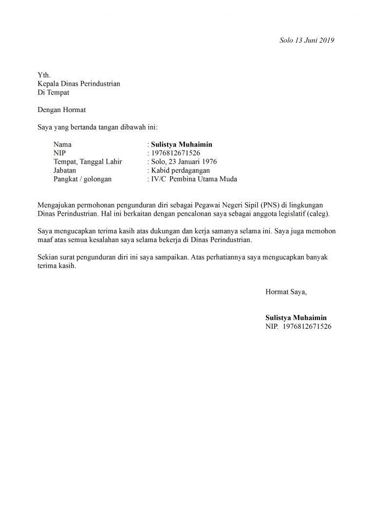 contoh surat pengunduran diri pns yang baik dan benar