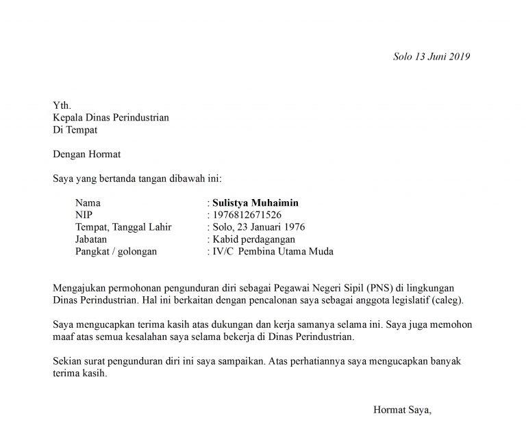 Surat Resign Surat Kerja M