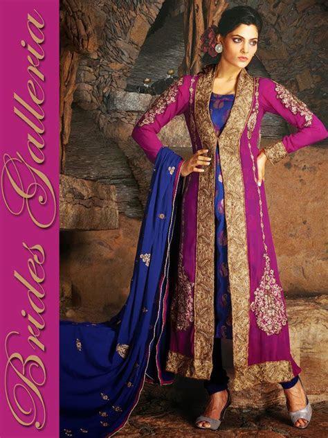 Magenta Pure Georgette Churidar Kameez : Designer Sarees