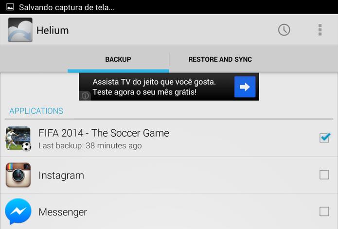 Selecione os aplicativos que passarão por backup (Foto: Reprodução/ Lucas Torres)