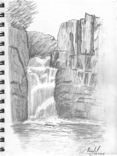 pencil drawings drawing lesson waterfall