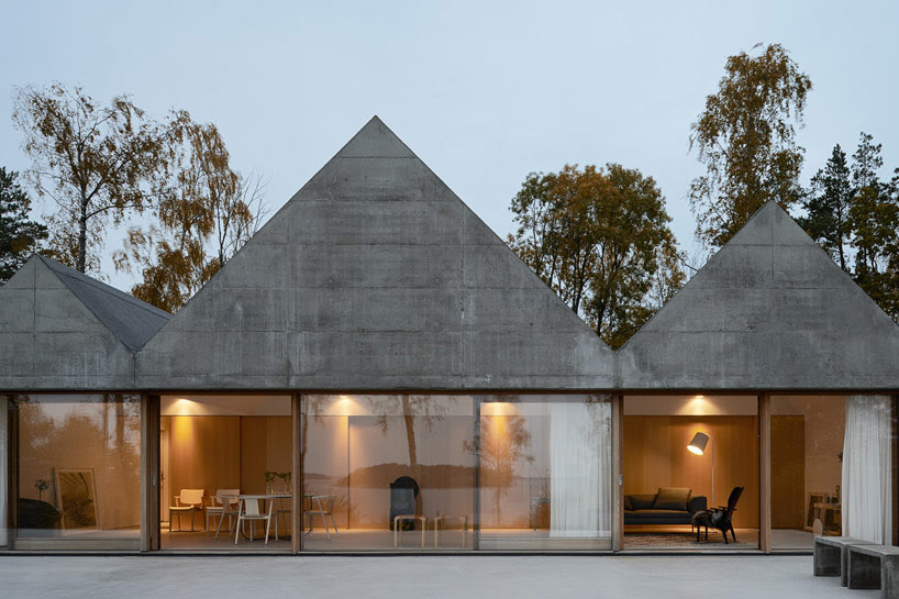 concrete gabled summerhouse lagno by tham & videgard