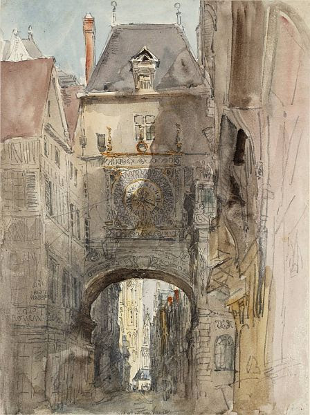 Tour d'Horloge, Rouen, 1829, graphite and watercolor on paper by David Cox, British, 1783-1859. Presented to Tate Britain by the Art Fund, Herbert Powell bequest in 1967.