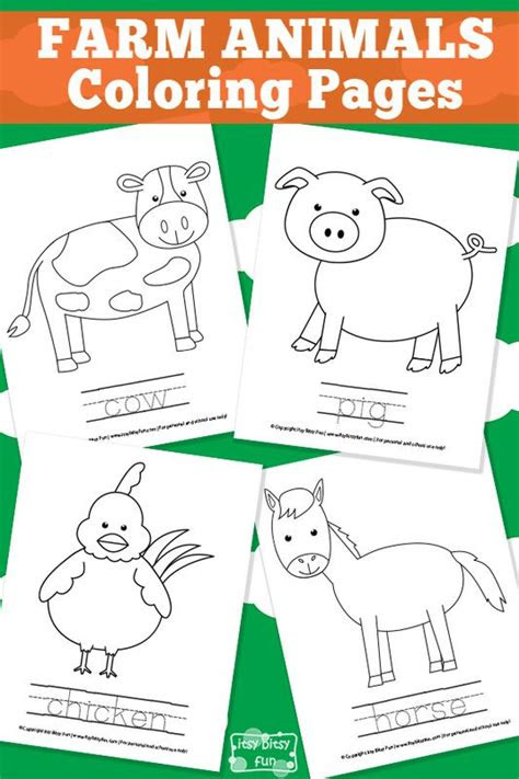 farm animal coloring pages coloring names  animals
