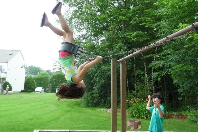 Dova upside down on the swing